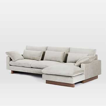 Harmony Set 1, Left Arm 2.5 Seater Sofa, Right Arm Chaise, Distressed Velvet, Light Taupe - West Elm