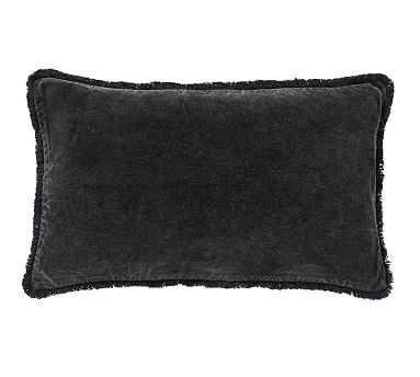 """Fringe Velvet Lumbar Pillow Cover, 16 x 26"""", Black - Pottery Barn"""