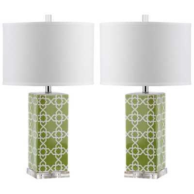 Safavieh Quatrefoil 27 in. Green Table Lamp (Set of 2) - Home Depot