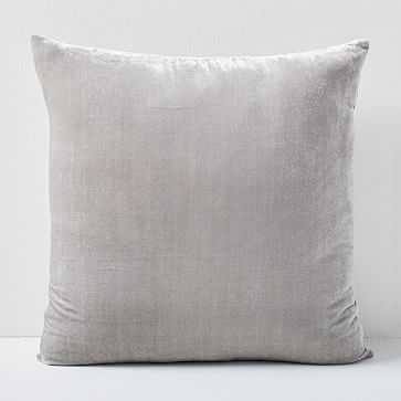 "Lush Velvet Pillow Cover, Platinum, 24""x24"" - West Elm"