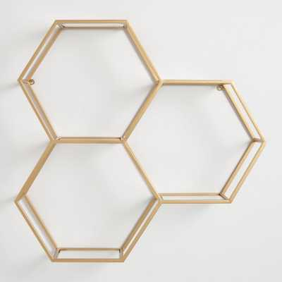 Gold and Glass Honeycomb Wall Shelf by World Market - World Market/Cost Plus
