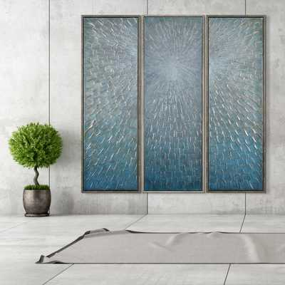 """Empire Art Direct 60 in. x 20 in. """"Silver Ice"""" Textured Metallic Hand Painted by Martin Edwards Wall Art (Set of 3), Metal Colour - Home Depot"""
