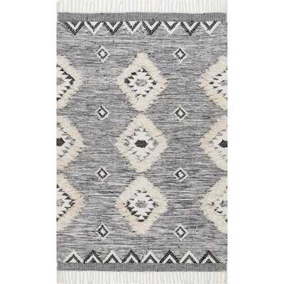 Savannah Moroccan Fringe Grey 7 ft. 6 in. x 9 ft. 6 in. Area Rug - Home Depot