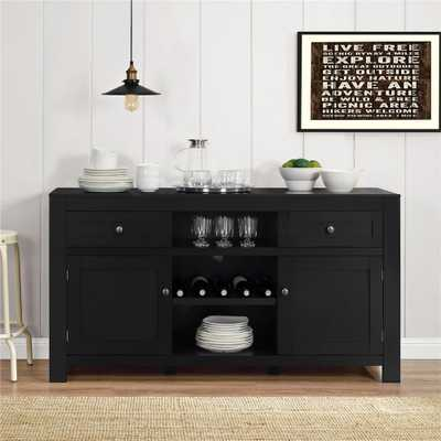 Hadley Black Buffet with Wine Storage - Home Depot