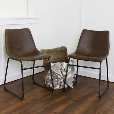Wasatch Brown Faux Leather Dining Chair (Set of 2) - Home Depot