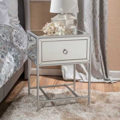 Athena Mirrored Silver 1 Drawer Side Table - eBay