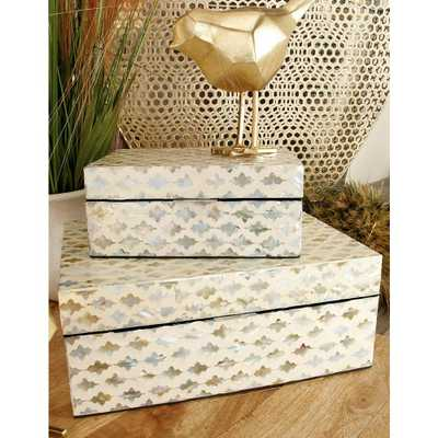 Vintage White Zig-Zag Patterned MDF Multiple Decorative Boxes w/ Tan, Gray and Blue Mother of Pearl Tile Inlay(Set of 2), Multi - Home Depot