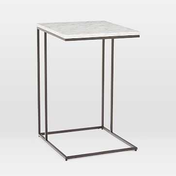 Streamline C-Side Table, Marble, Antique Bronze-Individual - West Elm