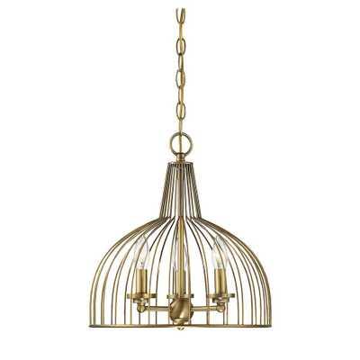 Filament Design 3-Light Natural Brass Chandelier - Home Depot