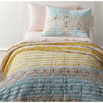 Mod Yellow Full-Queen Quilt - Crate and Barrel