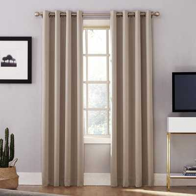 Sun Zero Oslo Woven Home Theater Grade Blackout Stone (Grey) Grommet Single Curtain Panel - 52 in. W x 95 in. L - Home Depot
