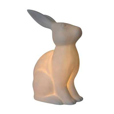 Simple Designs Animal Love 10.9 in. White Porcelain Bunny Rabbit Shaped Table Lamp - Home Depot