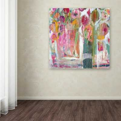 """35 in. x 35 in. """"Pink Melody"""" by Carrie Schmitt Printed Canvas Wall Art - Home Depot"""
