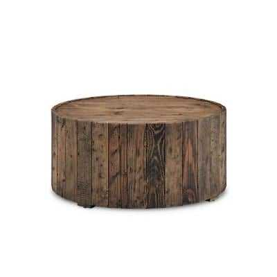 Magnussen Home Dakota Round Cocktail Table with Casters in Rustic Pine - eBay