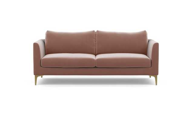 Owens Sofa with Blush Fabric and Brass Plated legs - Interior Define
