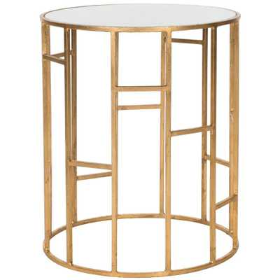 Doreen Gold and White Glass Top End Table, Gold/White - Home Depot