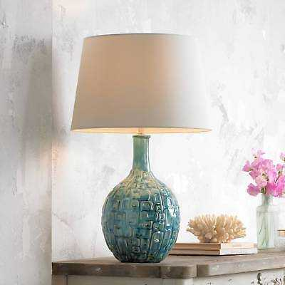 Mid Century Modern Table Lamp Teal Pattern White for Living Room Bedroom - eBay