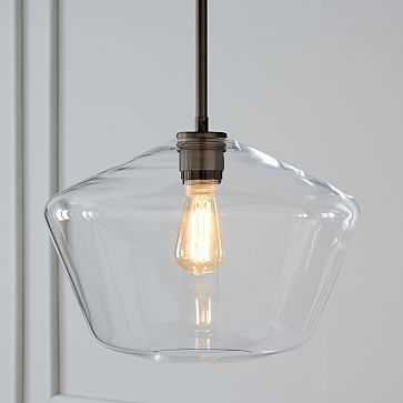 Sculptural Glass Pendant, Large Geo, Clear Shade, Bronze Canopy - West Elm