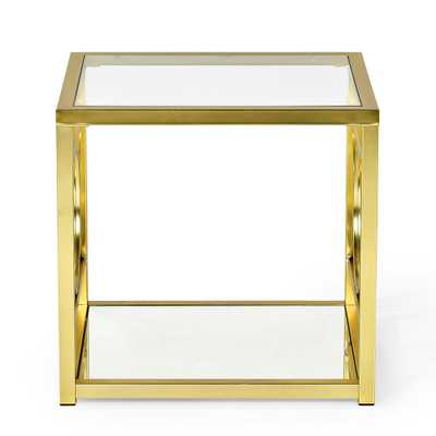 Steve Silver Company Olympia Glass and Gold Chrome End Table - Home Depot
