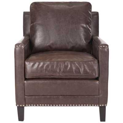Buckler Antique Brown/Espresso (Antique Brown/Brown) Bicast Leather Arm Chair - Home Depot