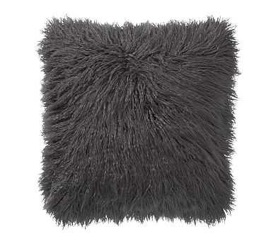 Mongolian Faux Fur Pillow, 18 Inches, Shale - Pottery Barn