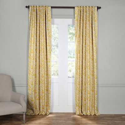 Exclusive Fabrics & Furnishings Semi-Opaque Abstract Misted Yellow Blackout Curtain - 50 in. W x 108 in. L (Panel) - Home Depot