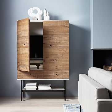 Reclaimed Wood + Lacquer Media Tall Media Cabinet - West Elm