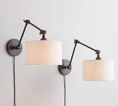 PB Classic Articulating Sconce Kit, Bronze + Emery Linen Shade, White, Set of 2 - Pottery Barn