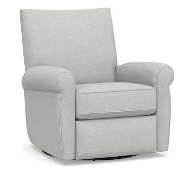 Grayson Roll Arm Upholstered Swivel Armchair, Polyester Wrapped Cushions, Basketweave Slub Ash - Pottery Barn