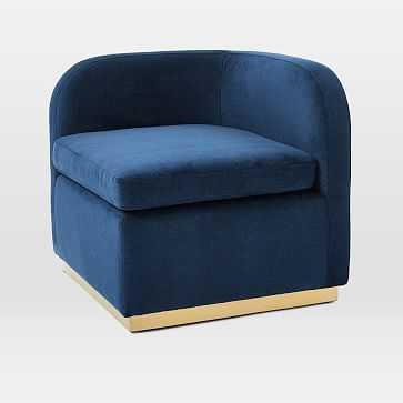 Roar + Rabbit Tete-a-Tete Chair, Distressed Velvet, Ink Blue, Antique Brass - West Elm