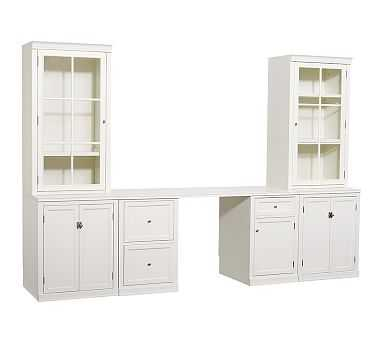 Logan Small Office Suite with Doors and Glass Towers, Antique White - Pottery Barn