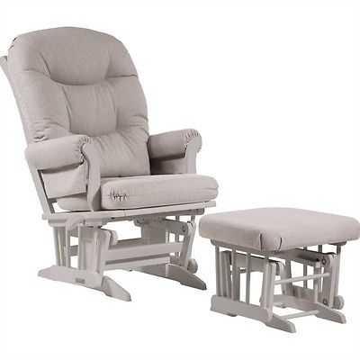 Sleigh Glider Recliner Multiposition and Nursing Ottoman Set in Light Grey - eBay