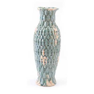 ZUO Distressed Blue Seta Medium Decorative Vase - Home Depot