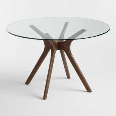 Round Wood and Glass Briana Table: Brown - Small by World Market - World Market/Cost Plus