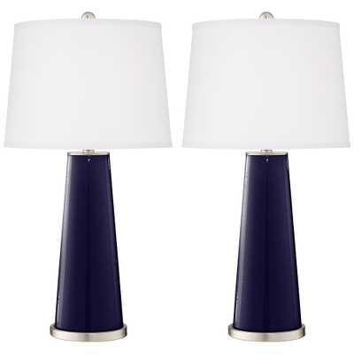 Midnight Blue Metallic Leo Table Lamp Set of 2 - Style # 17R88 - Lamps Plus