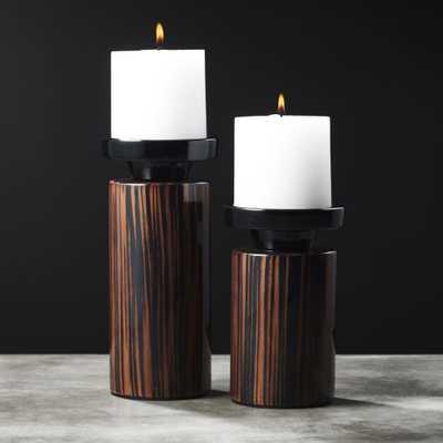 Paz Wood Pillar Candle Holders Set of 2 - CB2