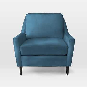 Everett Chair, Luster Velvet, Celestial Blue - West Elm