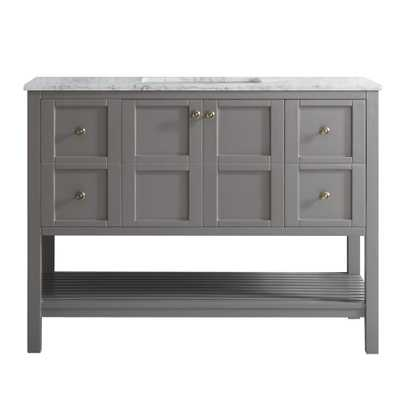 Vinnova Florence 48 in. W x 22 in. D x 35 in. H Vanity in Grey with Marble Vanity Top in White with Basin - Home Depot