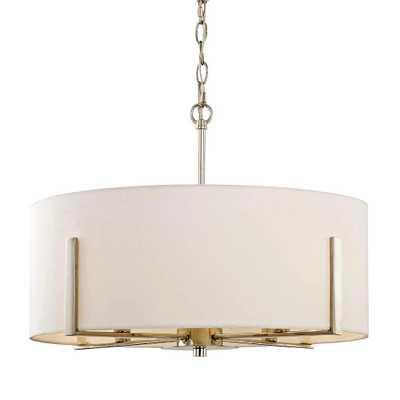 Fifth and Main Lighting Manhattan 4-Light Polished Nickel Drum Pendant - Home Depot