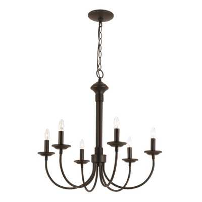 Bel Air Lighting Candle 6-Light Black Chandelier - Home Depot