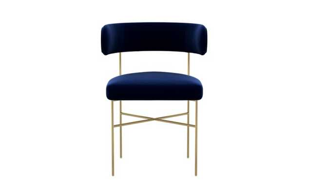 Audrey Dining Chair with Oxford Blue Fabric and Matte Brass legs - Interior Define