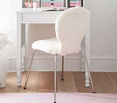 Round Stationary Upholstered Task Chair, Pink Fur, Unlimited Flat Rate Delivery - Pottery Barn Kids