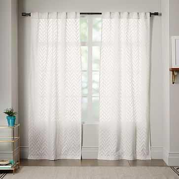 """Sheer Chevron Curtain, White, 42""""x96"""" - West Elm"""