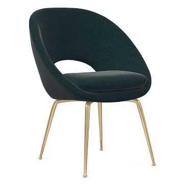 Orb Dining Chair, Antique Brass Leg, Distressed Velvet, Peacock, Antique Brass - West Elm