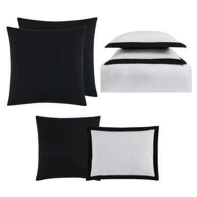 Everyday Hotel Border Black 7-Piece King Duvet Set, White And Black Duvet - Home Depot