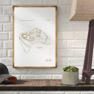 'Video Game Controller 2008' Framed Drawing Print in Gold - Wayfair