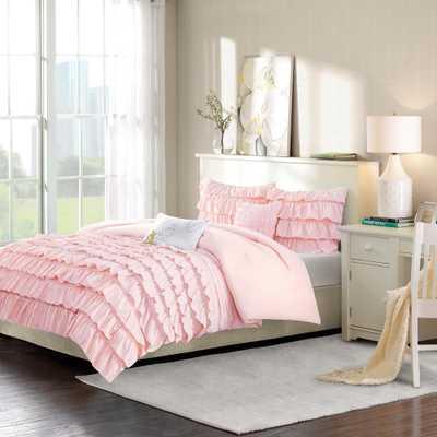Demi 5-Piece Blush Full/Queen Solid Comforter Set - Home Depot