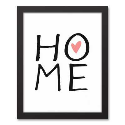11 in. x 14 in. ''Home'' Printed Framed Canvas Wall Art - Home Depot