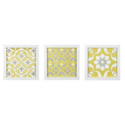 Tuscan Tiles 3 Piece Framed Graphic Art Print Set on Wood - Wayfair