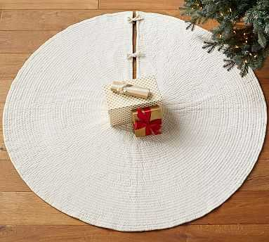 Channel Quilted Tree Skirt, Ivory - Pottery Barn